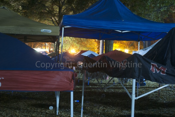 Tents set up in The Grove at Ole Miss on Friday November 8, 2013. Tailgaters wait all day Friday to set up their tents at 9pm every Friday night before Saturday football games at Ole Miss.