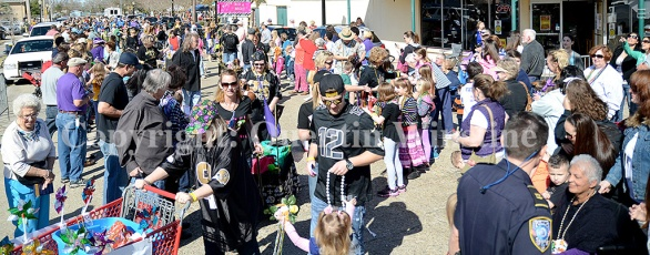 The Krewe de Paws parade marches through Olde Towne Slidell on Saturday, February 22, 2014.