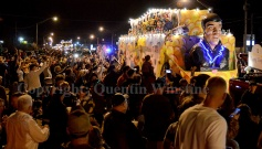 Crowds gathered along the traditional Slidell parade route to catch the Krewe of Selene parade on Friday, February 28, 2014.